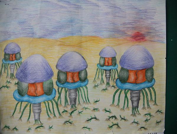 小学生的科幻画作品:吸沙尘机器人)-银川市科学技术协会